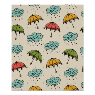 Rainy Water drops and Umbrellas Poster
