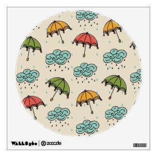 Rainy Water drops and Umbrellas Wall Decal