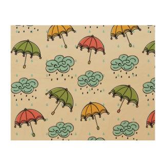 Rainy Water drops and Umbrellas Wood Canvas