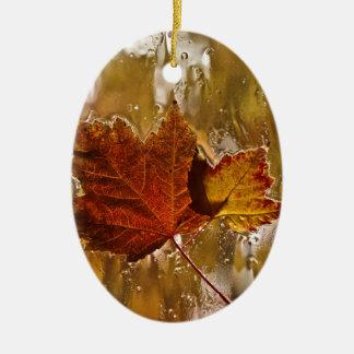 Rainy Window Maple Leaves Ceramic Ornament
