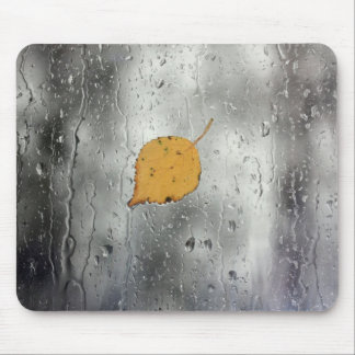 Rainy window with leaf mouse pad