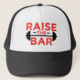 Raise the Bar funny fitness gym saying hat red