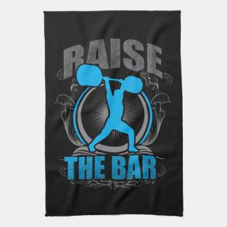 Raise The Bar - Weightlifting Workout Motivational Kitchen Towel