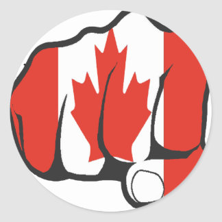 Raise Yer Fist CANADA Classic Round Sticker