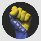 Raised Clenched Fist with Bosnian Flag Classic Round Sticker