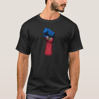 Raised Clenched Fist with Haitian Flag T-Shirt