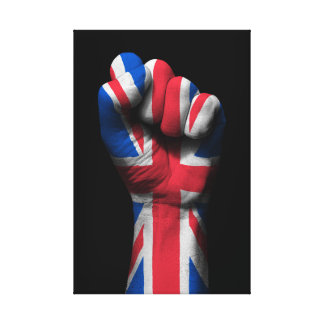 Raised Clenched Fist with Union Jack Flag Canvas Print