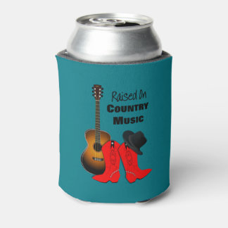 Raised on Country Music Cool Cowgirl Themed Can Cooler
