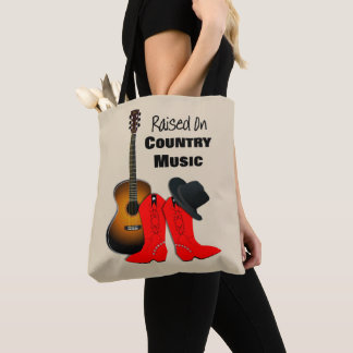 Raised on Country Music Cool Cowgirl Themed Graphi Tote Bag