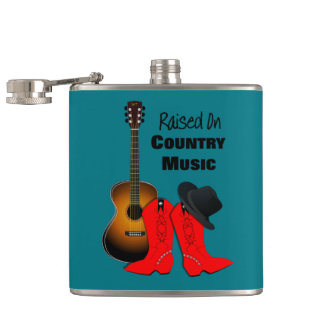 Raised on Country Music Cool Cowgirl Themed Hip Flask