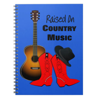 Raised on Country Music Cool Cowgirl Themed Notebook