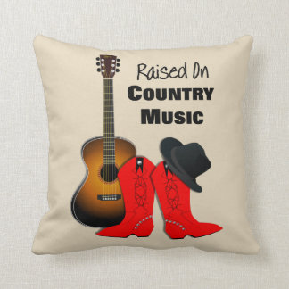 Raised on Country Music Cool Cowgirl Themed Throw Pillow