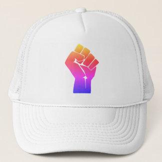 Raised Red Gradient Fist Rainbow Trucker Hat