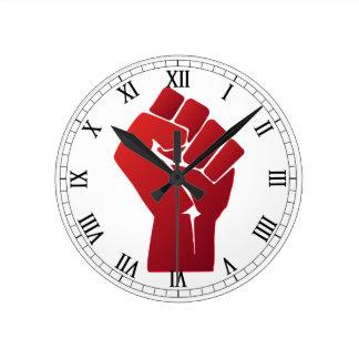 Raised Red Gradient Fist Round Clock