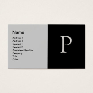 """Raised Silver Letter """"P"""" Business Card"""
