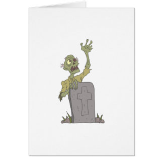 Raising From The Grave Creepy Zombie With Rotting Card