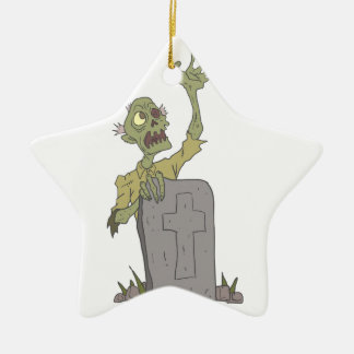 Raising From The Grave Creepy Zombie With Rotting Ceramic Ornament
