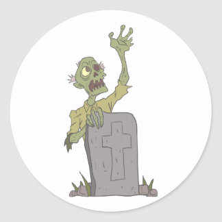 Raising From The Grave Creepy Zombie With Rotting Classic Round Sticker