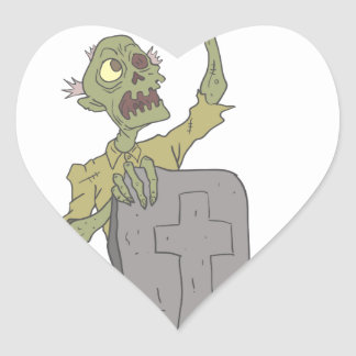 Raising From The Grave Creepy Zombie With Rotting Heart Sticker