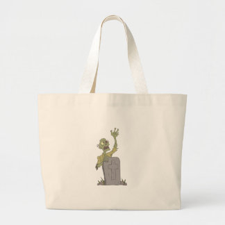 Raising From The Grave Creepy Zombie With Rotting Large Tote Bag