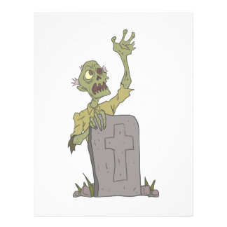 Raising From The Grave Creepy Zombie With Rotting Letterhead