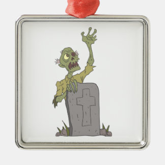 Raising From The Grave Creepy Zombie With Rotting Metal Ornament