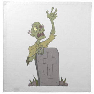 Raising From The Grave Creepy Zombie With Rotting Napkin