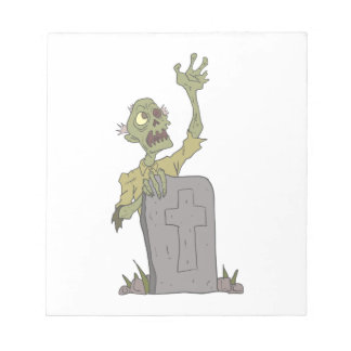 Raising From The Grave Creepy Zombie With Rotting Notepad