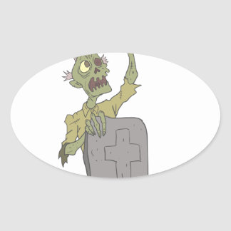 Raising From The Grave Creepy Zombie With Rotting Oval Sticker