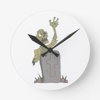 Raising From The Grave Creepy Zombie With Rotting Round Clock