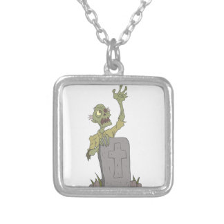 Raising From The Grave Creepy Zombie With Rotting Silver Plated Necklace