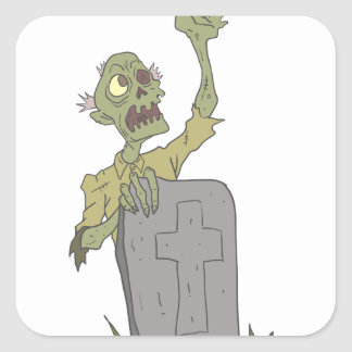 Raising From The Grave Creepy Zombie With Rotting Square Sticker