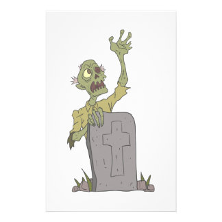 Raising From The Grave Creepy Zombie With Rotting Stationery