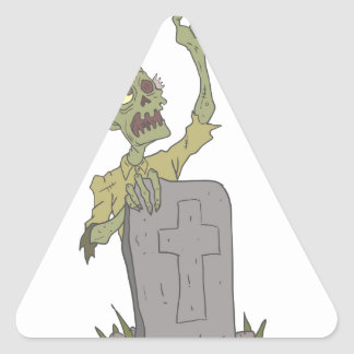 Raising From The Grave Creepy Zombie With Rotting Triangle Sticker