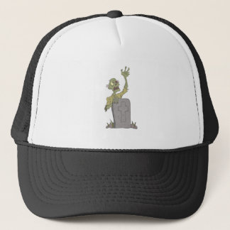 Raising From The Grave Creepy Zombie With Rotting Trucker Hat