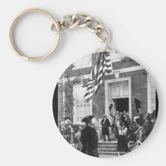 Raising the first flag at Independence_War Image Basic Round Button Keychain