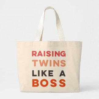 Raising Twins LIKE A BOSS - Large Tote Bag