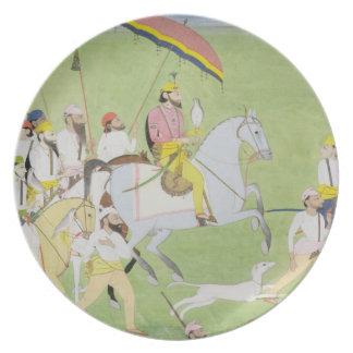 Rajah Dhian Singh (1796-1840) hunting with compani Dinner Plates