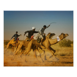 Rajasthan, India camel races in the Thar Desert Poster