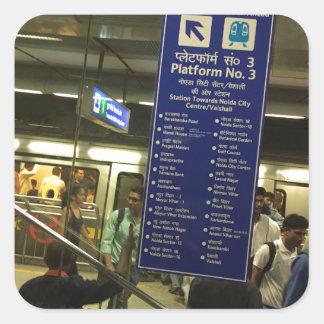Rajiv Chowk New Delhi Metro Indian Railways Pride Square Sticker