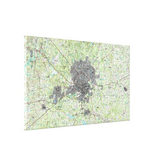 Raleigh North Carolina Map (1990) Canvas Print