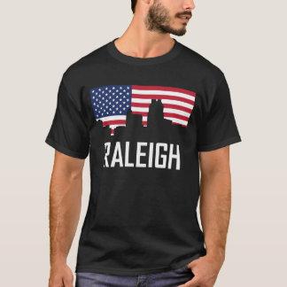 Raleigh North Carolina Skyline American Flag T-Shirt