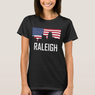 Raleigh North Carolina Skyline American Flag T-Shirt