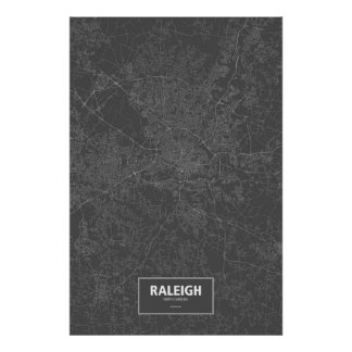 Raleigh, North Carolina (white on black) Poster