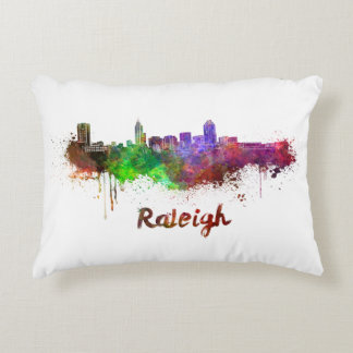 Raleigh skyline in watercolor decorative pillow