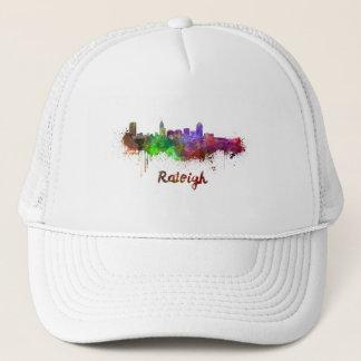 Raleigh skyline in watercolor trucker hat
