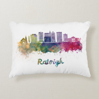 Raleigh V2 skyline in watercolor Accent Pillow