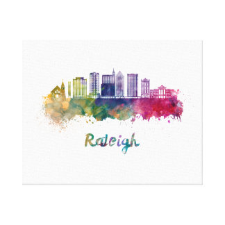 Raleigh V2 skyline in watercolor Canvas Print
