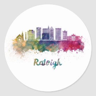 Raleigh V2 skyline in watercolor Classic Round Sticker