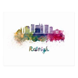 Raleigh V2 skyline in watercolor Postcard